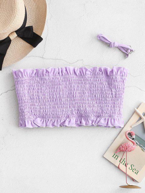 ZAFUL Frilled Smocked Bandeau Bikini Top - ضوء ارجواني S Mobile