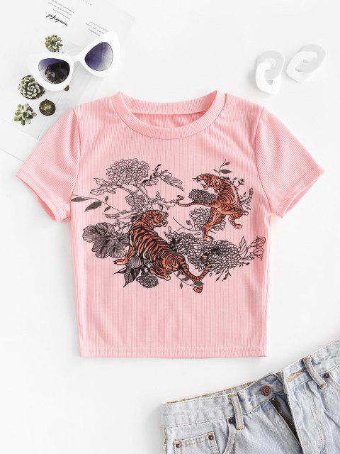 T-shirt Court Côtelé Fleuri Tigre Imprimé - Rose  S Mobile