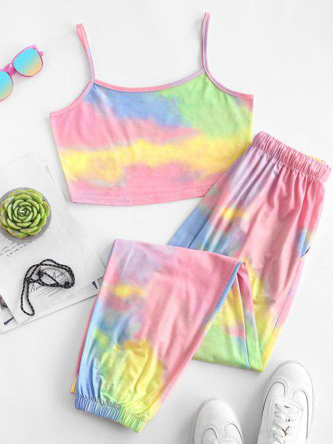 buy ZAFUL Tie Dye Pocket Drawstring Jogger Pants Set - LIGHT PINK S Mobile