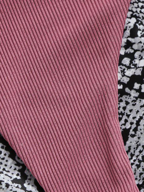 hot ZAFUL Strappy Snake Print High Leg Ribbed Bikini Swimwear - LIGHT PINK S Mobile