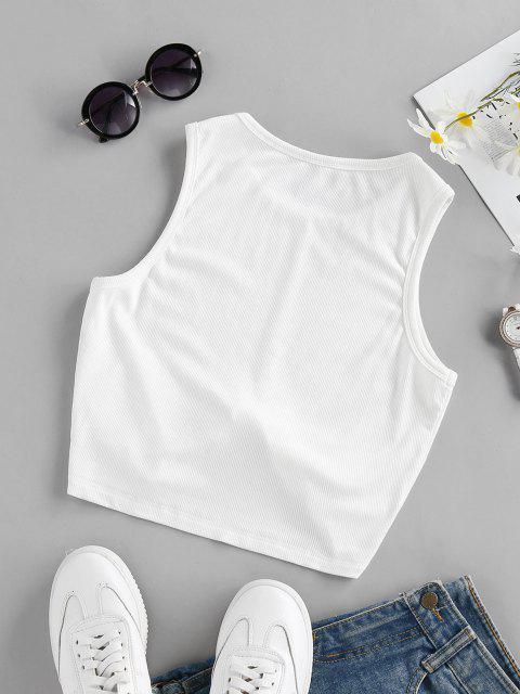 online ZAFUL Ribbed Twist Hem Plain Tank Top - WHITE XL Mobile