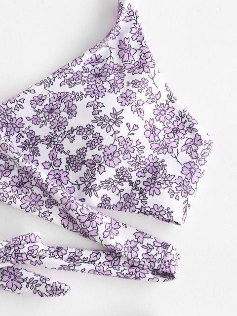 latest ZAFUL Floral Halter Wrap Bikini Swimwear - LIGHT PURPLE S Mobile