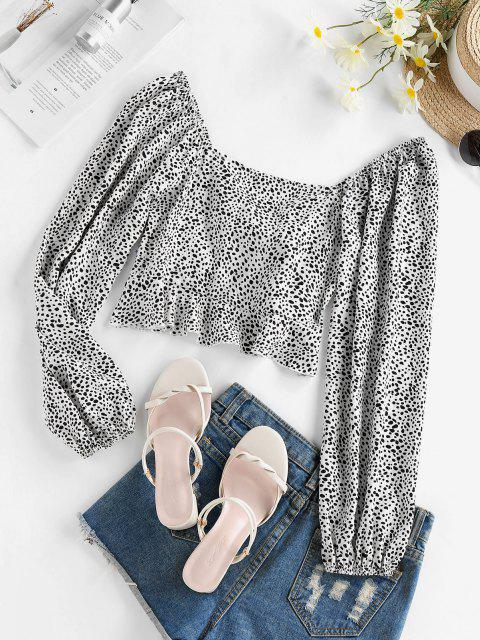 latest ZAFUL Tie Front Cow Print Crop Blouse - WHITE S Mobile