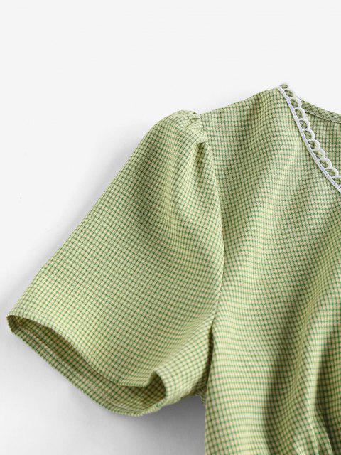 ladies ZAFUL Plaid Picot Trim V Neck Crop Blouse - GREEN S Mobile