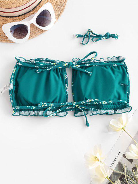 ZAFUL Ditsy Print Tie Bandeau Bikini Top - متوسطة البحر الخضراء S Mobile