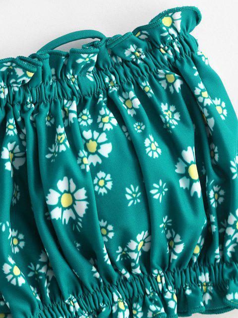 best ZAFUL Ditsy Print Tie Bandeau Bikini Top - MEDIUM SEA GREEN S Mobile