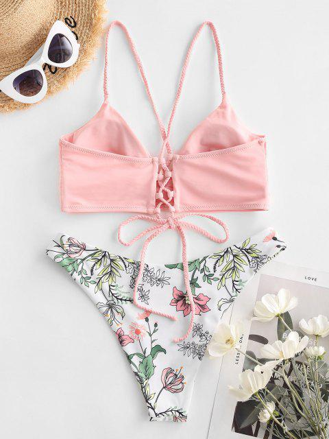 online ZAFUL Flower Braided Strap Lace Up High Leg Bikini Swimwear - LIGHT PINK S Mobile