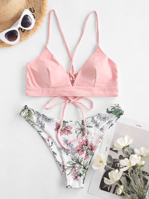 new ZAFUL Flower Braided Strap Lace Up High Leg Bikini Swimwear - LIGHT PINK M Mobile