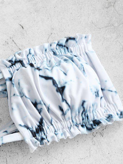 ZAFUL Costume da Bagno Bikini a Fascia Stampato Marmorizzato con Nodo Indietro - Bianca S Mobile