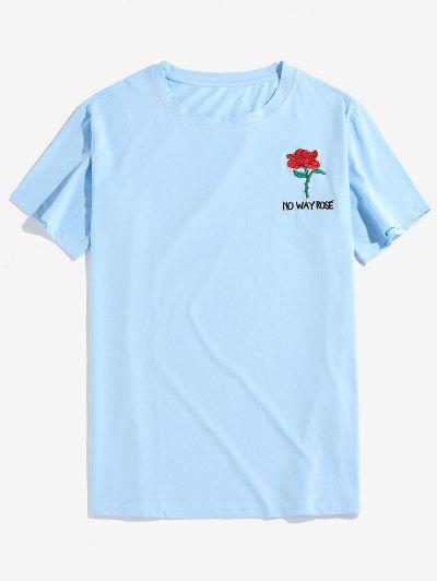Rose Graphic Embroidered Short Sleeves T-shirt - Light Blue M