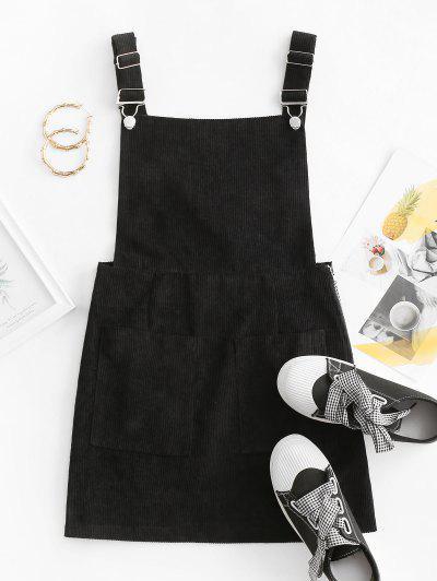 Side Zip Corduroy Overall Dress - Black L