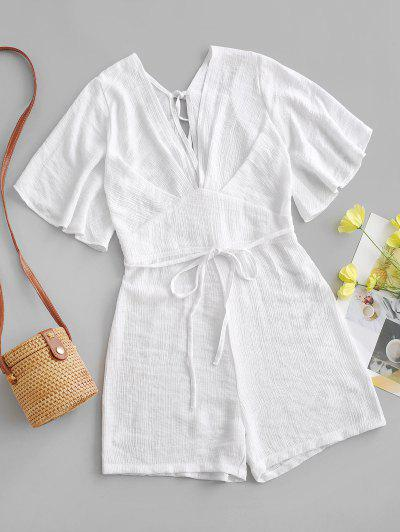 Textured Tie Backless Flutter Sleeve Plunge Romper - White Xs