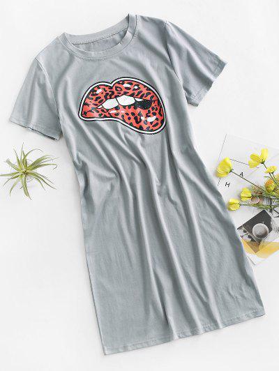Lip Leopard Casual Tee Dress - Gray S