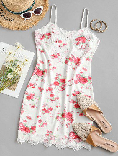 Cami Floral Lace Panel Bodycon Dress - White S