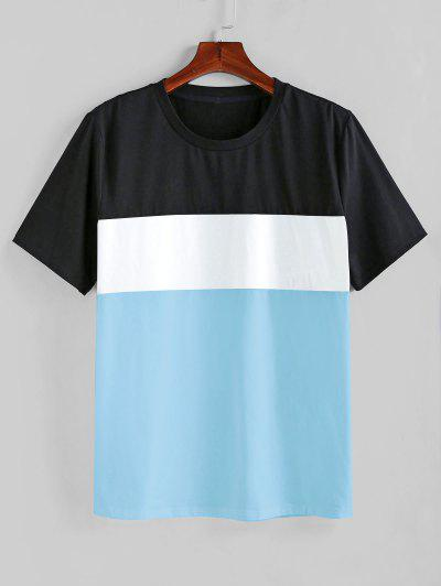 ZAFUL Color Spliced Short Sleeves T-shirt - Day Sky Blue 2xl