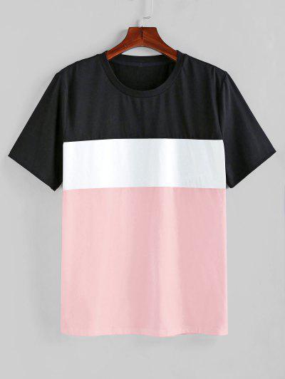 ZAFUL Camiseta De Manga Corta Empalme De Color - Cerdo Rosa L