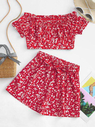 ZAFUL Belted Ditsy Floral Off Shoulder Two Piece Set - Red M