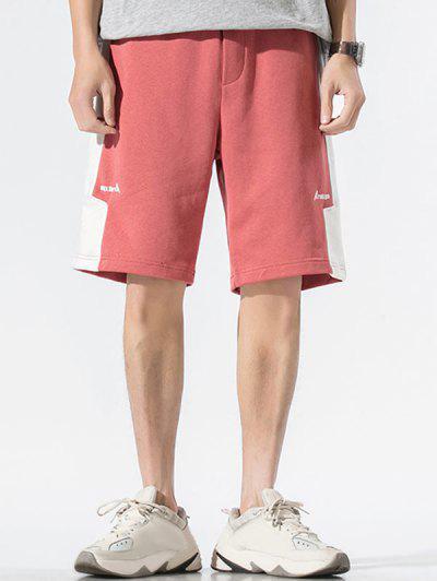 Drawstring Letter Print Contrast Sweat Shorts - Light Pink Xl