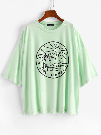 Oversized Coconut Tree Drop Shoulder Tunic Tee - Green M