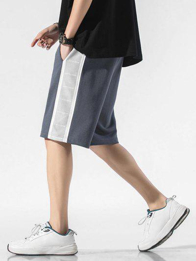 Letter Print Drawstring Contrast Sweat Shorts - Mist Blue L