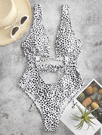 ZAFUL Leopard Backless Cutout One-piece Swimsuit - White S