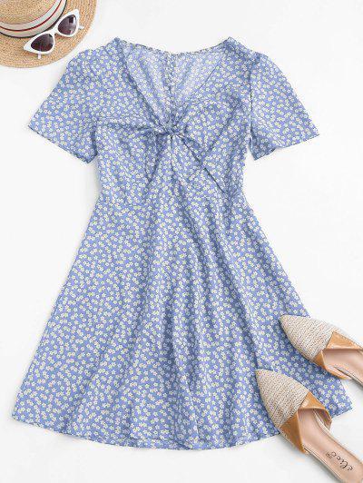 Ditsy Print Tie Knot Plunging Mini Dress - Light Blue M