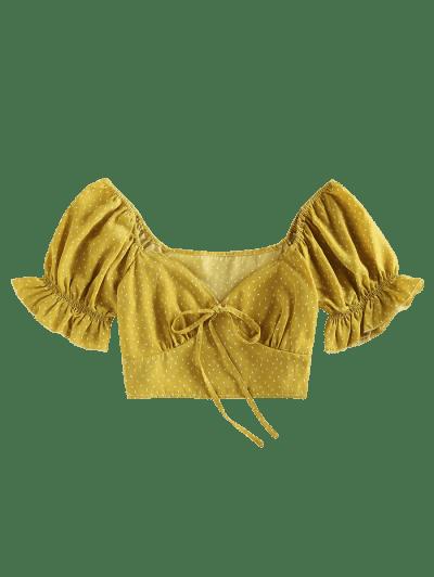 ZAFUL Bat Print Knotted Crop Blouse