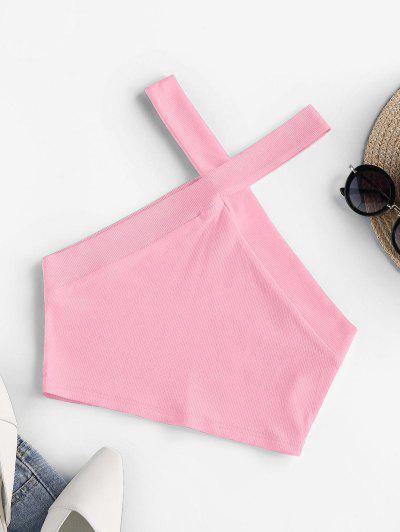 ZAFUL Ribbed Cutaway Crop Tank Top - Hot Pink M