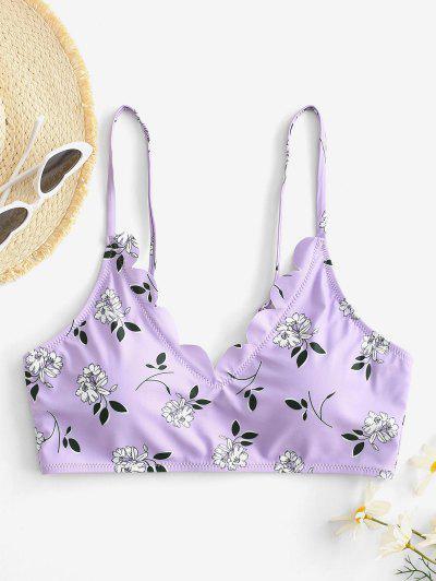 ZAFUL Floral Scalloped Bikini Top - Light Purple M