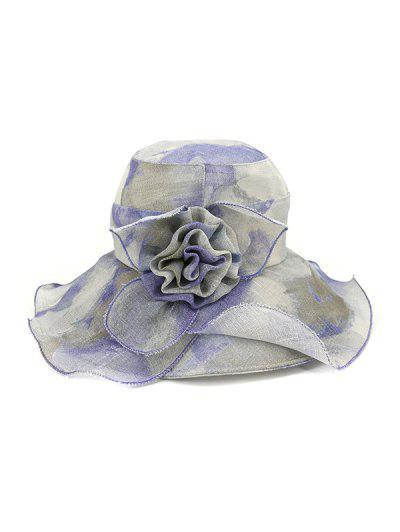 Water Color Floral Wide Brimmed Beach Sun Hat - Blue