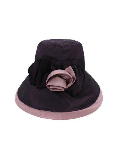 Bowknot Wide Brim Bucket Hat - Purple