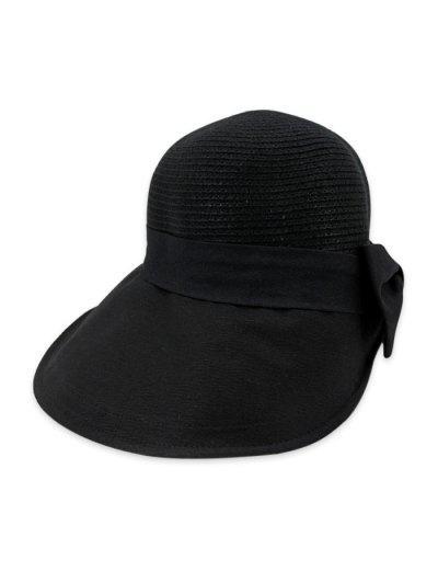 Sombrero De Paja Ancha Con Moño Y Ala Ancha - Negro