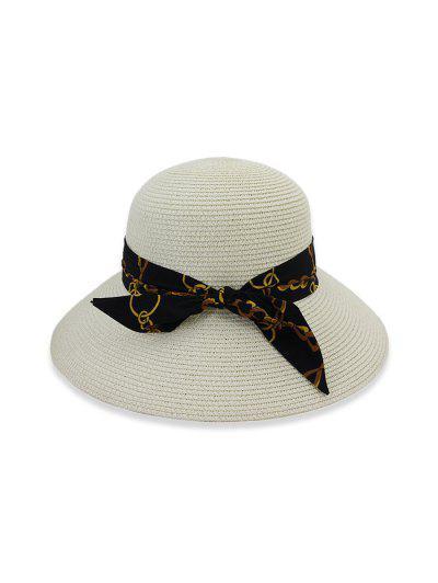Chain Print Bowknot Wide Brim Straw Hat - White