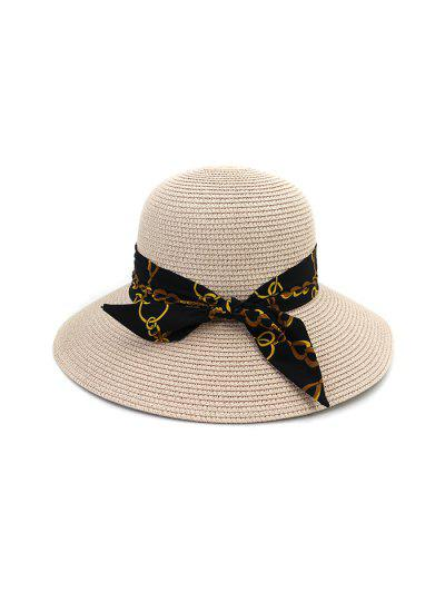 Chain Print Bowknot Wide Brim Straw Hat - Light Pink