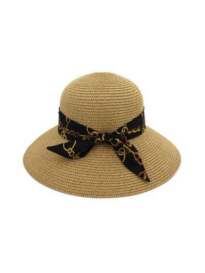 Chain Print Bowknot Wide Brim Straw Hat - Khaki