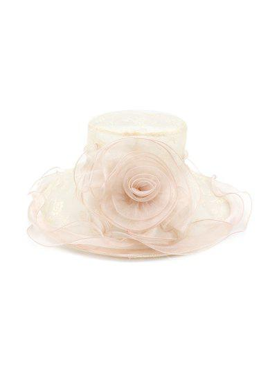Flower Lace Wide Brimmed Beach Sun Hat - Light Pink