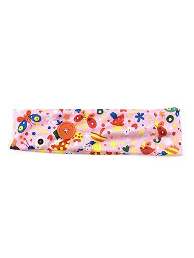 Cartoon Printed Button Elastic Sports Headband - Pink