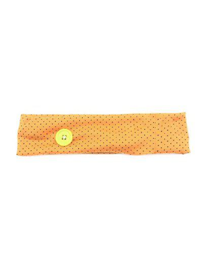 Pin Dot Print Fitness Elastic Button Headband - Dark Orange