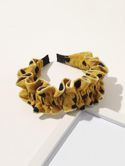 Spotted Print Ruffled Headband - Yellow