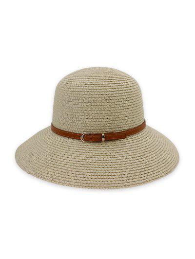 Contrast Belt Wide Brim Straw Hat - Beige