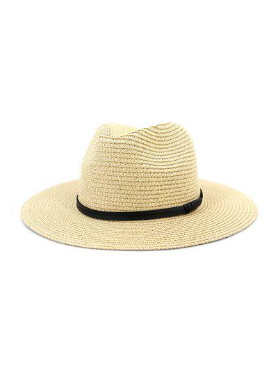 Jazz Straw Hat With Leather Detail - Beige