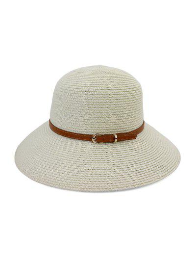 Contrast Belt Wide Brim Straw Hat - White