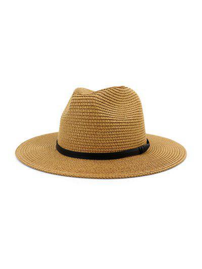 Jazz Straw Hat With Leather Detail - Khaki