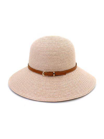 Contrast Belt Wide Brim Straw Hat - Light Pink