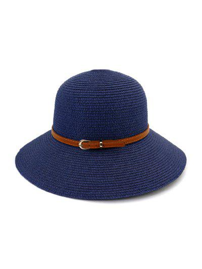 Contrast Belt Wide Brim Straw Hat - Cadetblue