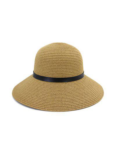 Wide Brim Straw Hat With Leather Detail - Khaki
