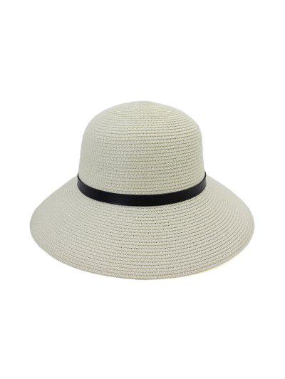 Wide Brim Straw Hat With Leather Detail - White