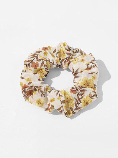 Elastic Tiny Floral Print Scrunchy - Light Yellow