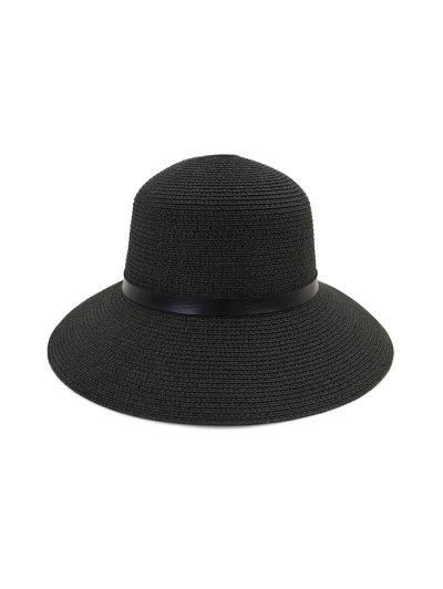 Wide Brim Straw Hat With Leather Detail - Black