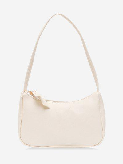 Solid Portable Shoulder Bag - White